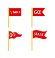 red flags set on white background vector image