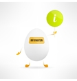 Happy cartoon egg creature with information sign vector image