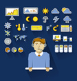 Profession of people Flat infographic Weatherman vector image