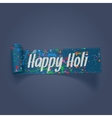 Holi realistic scroll Ribbon with color Stains vector image