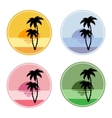 icon with sun and palm trees vector image vector image