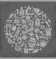 craft beer hand drawn elements set vector image