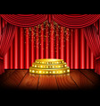 empty stage with red curtain background vector image