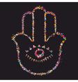Grunge colorful Hamsa-jewish religious amulet vector image