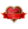 hearts card suit icons with ribbon vector image