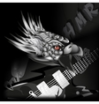 iron eagle with a guitar in its claws vector image