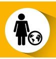 Silhouette girl globe media icon vector image