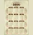 Vintage styled 2014 calendar vector image