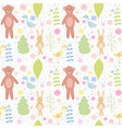 Forest animals seamless pattern with bear rabbit vector image