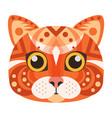 red cat head logo decorative emblem vector image