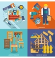 Carpentry flat set vector image