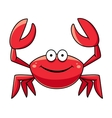 Happy red marine crab with big claws vector image vector image
