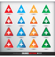Four sets of four positions of triangle Colored vector image