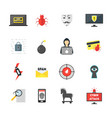 cartoon cyber crime security color icons set vector image
