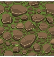 Cartoon stone on grass texture in brown colors vector image