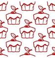 Cherry cupcake seamless pattern vector image
