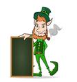 leprechaun with chalkboard character cartoon style vector image