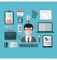 Management concept with objects and devices vector image