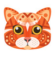 red cat head logo decorative emblem vector image
