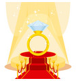 Ring on red carpet vector image