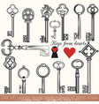 set of hand drawn keys set in vintage style vector image