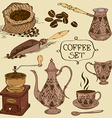 Set of isolated coffee icons vector image
