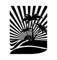 emblem style tropical island icon image vector image
