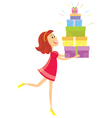 Girl and presents vector image vector image