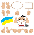 ukrainian fan gesture set vector image