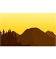Silhouette of big mountain at sunset vector image