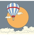 Air balloon flying in the clouds at sunset vector image