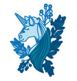 blue silhouette of unicorn face with floral vector image