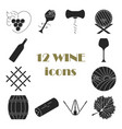 collection of dark wine icons vector image
