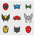 comic superhero masks set vector image