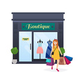 I love shopping Woman shopping and holding bags vector image