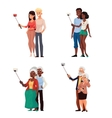 Set of young and elder couples taking selfie vector image