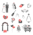 Wedding concept black red icons set vector image