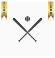 crossed baseball bats and ball vector image