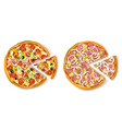 Pizza With Slice Composition vector image