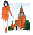 fashion girl in Moscow vector image