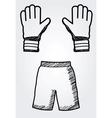 hand drawn soccer equipment vector image