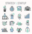 startup and strategy outline web busines icon set vector image