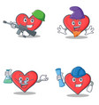 set of heart character with army elf professor vector image