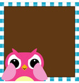 Cute owl baby girl arrival card vector image vector image
