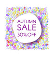 autumn sale banner with bunch of saturated leaves vector image