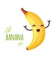 Cheerful Cartoon banana raising his hands vector image
