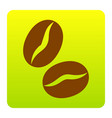 coffee beans sign brown icon at green vector image