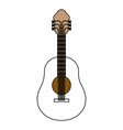 color sections silhouette of acoustic guitar with vector image
