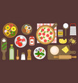 making pizza poster ingredients and utensils vector image