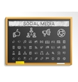 Social media hand drawing line icons chalk sketch vector image